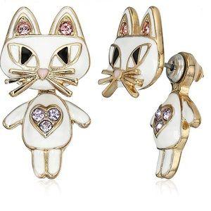 Betsey Johnson Cat Earrings Gold, White